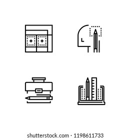 Creativity and creative thinking, design detailed outline linear icon set EPS 10 vector format. Transparent background.