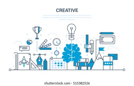 Creativity and creative thinking, planning, creation and implementation of ideas, imagination. Illustration thin line design of vector doodles, infographics elements.