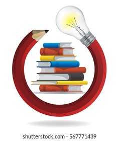 Creativity and Education concept Illustration of red twisted pencil with a light bulb and  textbooks. Vector available.