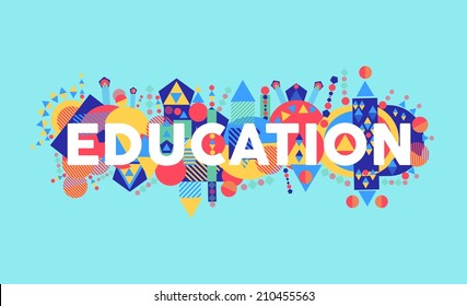 Creativity at education text concept colorful abstract elements composition. EPS10 vector file organized in layers for easy editing.