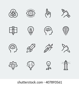 Creativity and graphic design vector icon set in thin line style