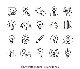 Creativity Icons - Vector Line. Editable Stroke. Vector Graphic