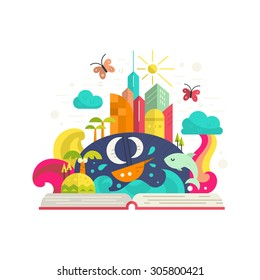 Creativity and imagination concept - open book with magical city inside. Ship, palm trees, tropical island, modern buildings and rainbow. Modern flat vector.