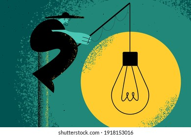 Creativity, innovation, idea concept. Businessman sitting and fishing new ideas for business or startup invention alone looking for opportunities and chances illustration