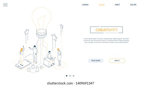 Creativity - line design style isometric web banner on white background with copy space for text. A header with colleagues, company staff working on a project, image of lightbulb. Bright idea concept