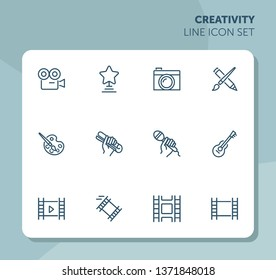 Creativity line icon set. Camera, guitar, movie. Leisure concept. Can be used for topics like entertainment, vocation, hobby