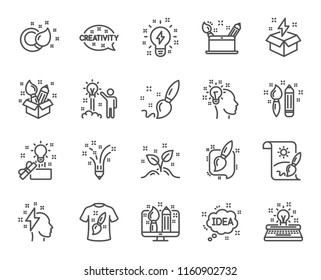 Creativity line icons. Set of Design, Idea and Inspiration linear icons. Imagination, Idea box and Creative signs. Brush with pencil, T-shirt and Out of the box symbols. Quality design. Vector