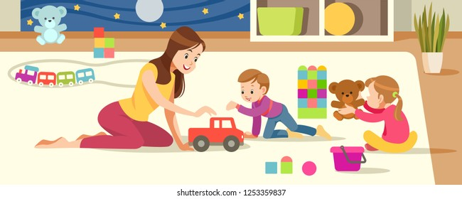 Сhildren's creativity. Mother And Children Playing With toys in the playroom. Concept motherhood child-rearing. Vector cartoon illustration.
