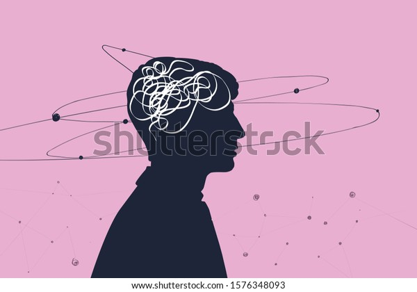 Creativity and the origin of ideas, the concept of the thought process. Profile of a person with thoughts in the form of a brain and satellites flying in orbits around the head, pink background