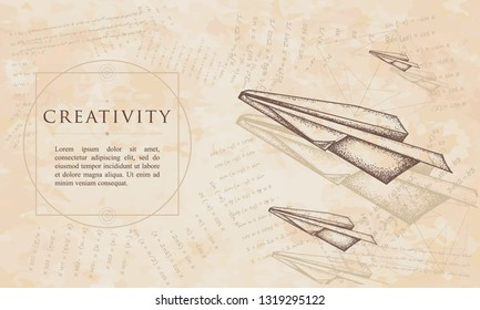 Creativity. Paper plane. Renaissance background. Medieval manuscript, engraving art