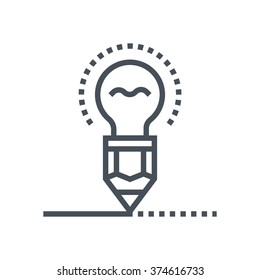 Creativity, pen and lamp icon suitable for info graphics, websites and print media and  interfaces. Line vector icon.