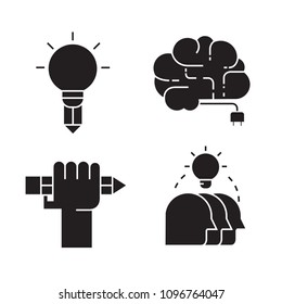 creativity and smart thinking icons set