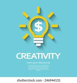 Creativity symbol with light bulb and dollar sign inside. Eps10 vector illustration