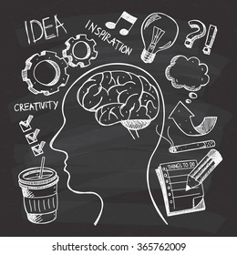 Creativity themed doodle on chalkboard background