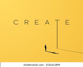 Creativity vector concept with creative typography and design with businessman looking to grow, climb up. Symbol of creative solutions, innovation, inspiration, new ideas. Eps10 illustration.