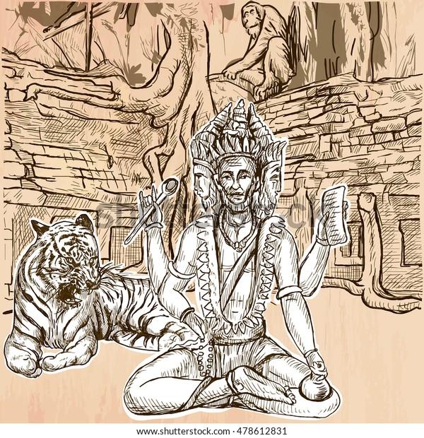 Creator God Brahma Freehand Sketching Line Stock Vector