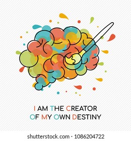 I am the creator of my own destiny, life motivation quote with colorful splash over human brain. Coaching concept illustration ideal for career planning or personal goal. EPS10 vector.