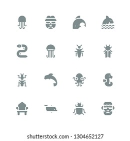 creature icon set. Collection of 16 filled creature icons included Frankenstein, Insect, Dolphin, Throne, Seahorse, Kraken, Mantis, Cicada, Jellyfish, Eel