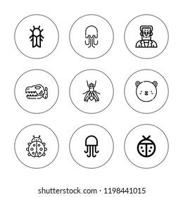 Creature icon set. collection of 9 outline creature icons with cicada, dinosaur, jellyfish, frankenstein, fly, ladybug icons. editable icons.