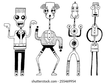 CREATURES people funny caricatures graphic simple figures cartoon tongue out costume big eyes big mouth circle