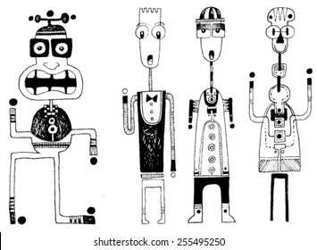 CREATURES people funny caricatures graphic simple figures cartoon dance big mouth teeth hat wonder surprise silly