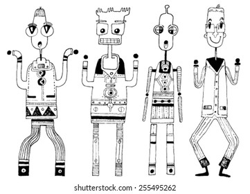 CREATURES people funny caricatures graphic simple figures cartoon costume big eyes teeth silly wonder surprise triangles