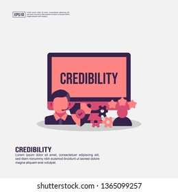 Credibility concept for presentation, promotion, social media marketing, and advertising. Minimalist Credibility infographic with flat icon