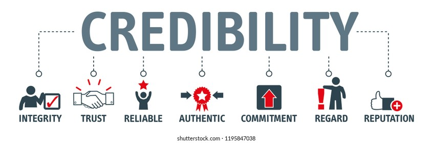 credibility, reputation and trust concept. Banner with vector illustration icons and keywords