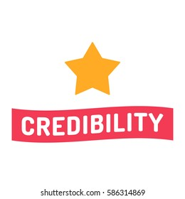Credibility. Ribbon with star icon. Flat vector illustration on white background.