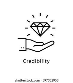 Credibility Vector line Icon