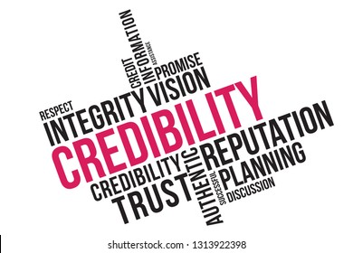 Credibility word cloud collage, business concept background. credibility, reputation and trust concept.