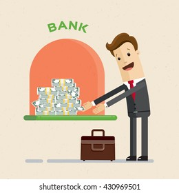 Credit. A bank gives out a loan in dollars. Businessman gets a bank loan. Vector, illustration