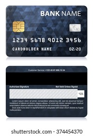 Credit Card with Abstract Polygon Pattern Vector illustration of black credit card isolated on white background