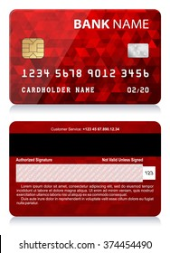 Credit Card with Abstract Polygon Pattern Vector illustration of red credit card isolated on white background