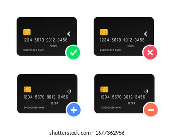 Credit card actions vector design. Approved and Failed Payment icon.