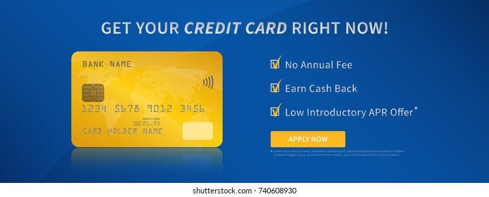 Kreditkartenwerbung, Vektorgrafik. Kreatives Kreativkonzept für kontaktlose Bankkredite (Debit). Plastische Bankkarte mit Boni (Geldkasse, keine Jahresgebühr) Grafikdesign.