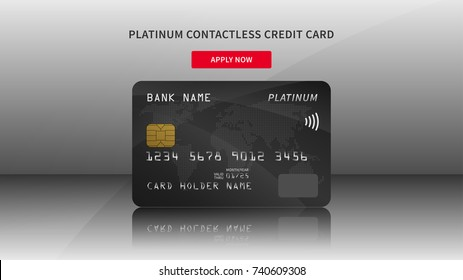 Credit card advertising vector illustration. Bank credit (debit) card promotion creative concept. Plastic platinum contactless card graphic design.