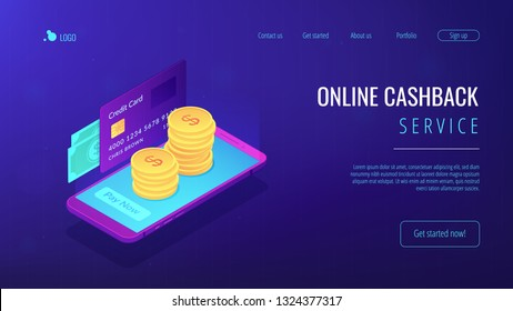 Credit card, banknotes and dollar coins transfer with mobile phone to pay now. Money transfer, digital payment, online cashback service concept. Isometric 3D website app landing web page template