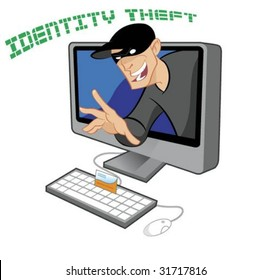 Credit Card Being Stolen by an Identity Thief Through the Internet