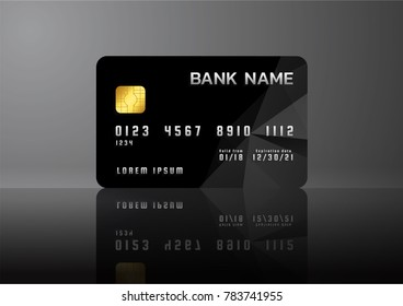 Credit card black on grey background with shadow. Modern business card template design