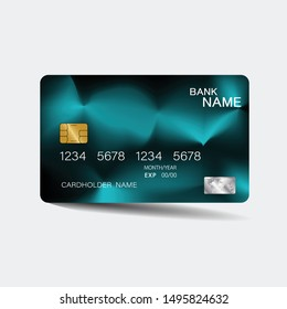 Credit card. With blue elements desing. And inspiration from abstract. On white background. Glossy plastic style.