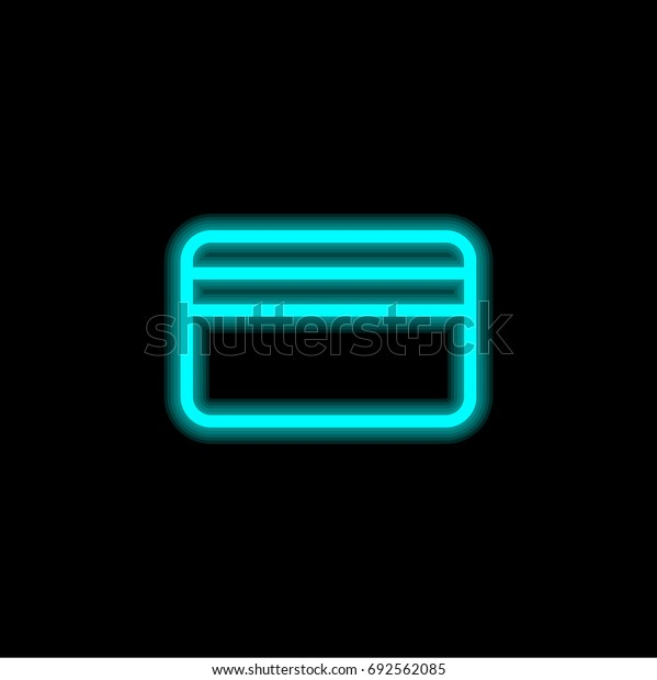 Credit card blue glowing neon ui ux icon. Glowing sign logo vector