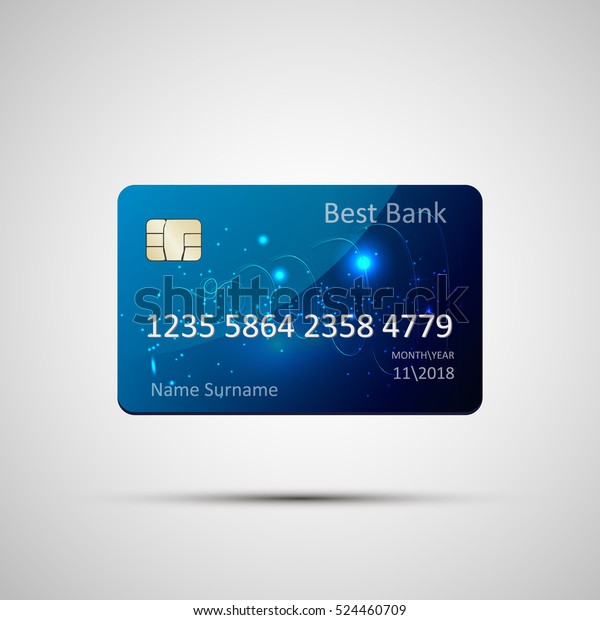 Credit card blue isolated on grey background with shadow. Vector, eps 10. Detailed glossy credit card concept. Abstract design for business, payment history, shopping malls, web, print.