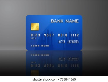 Credit card blue template isolated on grey background, Abstract design for business,
