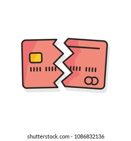 Credit card cancelled colored icon on white background.