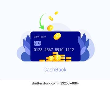 Credit card cash back concept. Credit card and gold coins back. Cash back bank transaction. Trendy flat style. Vector illustration