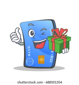 credit card character cartoon with gift