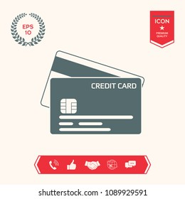 Credit card with a chip and magnetic stripe -  icon