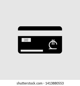 Credit card with a currency sign. Currency sign Georgian Lari