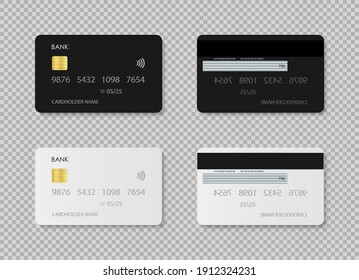 Credit card. Debit card. Design of template plastic card for bank in front and back. Mockup with chip for payment. Realistic set with white and black icons isolated on transparent background. Vector.